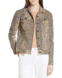 ATM - Leopard Print Denim Jacket - Lyst