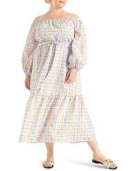 Eloquii Check Print Off The Shoulder Long Sleeve Maxi Dress - Multicolor