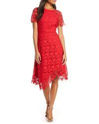 Eliza J Asymmetrical Lace Dress - Red