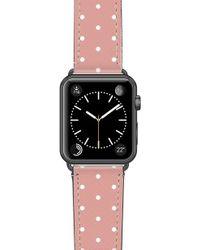 Casetify Polka Dots Saffiano Faux Leather Apple Watch Strap - Black