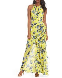 Eliza J Halter Ruffle Maxi Dress - Yellow