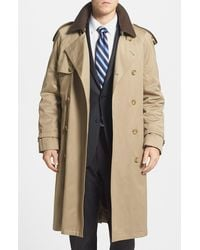 Hart Schaffner Marx Barrington Classic Fit Cotton Blend Trench Coat - Natural