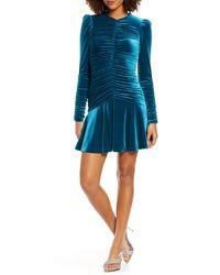 ML Monique Lhuillier Long Sleeve Ruched Cocktail Dress - Blue