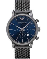 Emporio Armani - Chronograph Mesh Strap Watch - Lyst