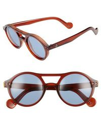 Moncler | 51mm Round Sunglasses - Transparent Red Brown/ Blue | Lyst