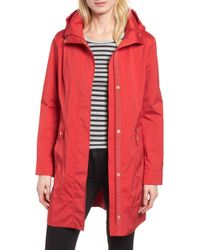 Cole Haan Back Bow Packable Hooded Raincoat, Red
