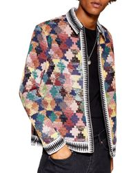 TOPMAN - Tapestry Zip Shirt Jacket - Lyst