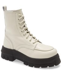 TOPSHOP Ava Ecru Leather Chunky Lace Up Boots - White