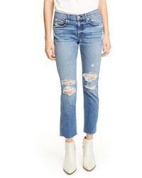 Rag & Bone Ankle Distressed Boyfriend Jeans In Marie Hole - Blue