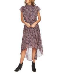 1.STATE Ditsy Drift Flutter Sleeve Dress - Brown
