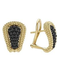 Lagos - Gold & Black Caviar Tapered Omega Clip Earrings - Lyst