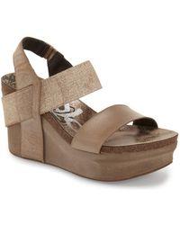 Otbt Bushnell Leather Wedge Sandals  - Metallic