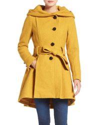 Steve Madden Belted Hooded Skirted Coat - Yellow