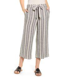 Caslon Caslon Yarn Dyed Linen Blend Crop Pants - Multicolor
