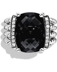 David Yurman 'wheaton' Ring With Semiprecious Stone & Diamonds - Black