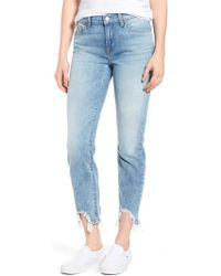 7 For All Mankind - 7 For All Mankind Roxanne Rip Hem Jeans - Lyst