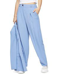 TOPSHOP Twill Peg Suit Pants - Blue