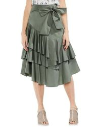 Vince Camuto | Tiered Ruffle Belted Poplin Skirt | Lyst