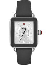 Michele Deco Sport Watch Head & Silicone Strap Watch - Metallic