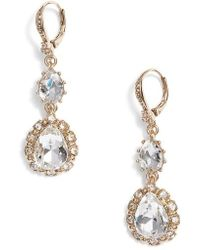 Marchesa - Medium Double Drop Crystal Earrings - Lyst