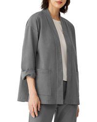 Eileen Fisher High Collar Jacket - Grey