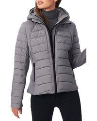 Bernardo Hooded Quilted Water Repellent Jacket - Grey