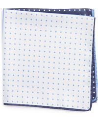 Nordstrom Four Panel Dot Silk Pocket Square - Blue