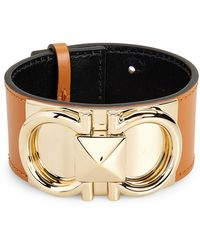 Ferragamo Double Gancio Leather Cuff Bracelet - Multicolor