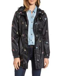 Joules | Right As Rain Packable Print Hooded Raincoat, Black | Lyst