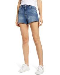 PAIGE Margot High Waist Cutoff Shorts - Blue