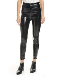 Rag & Bone Vinyl Super High Rise Ankle Skinny - Black