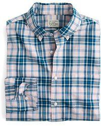 J.Crew | J.crew Slim Fit Stretch Secret Wash Heather Poplin Plaid Sport Shirt | Lyst