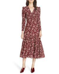 f9482ee1ed0 Rebecca Taylor - Tilda Floral Silk Midi Dress - Lyst