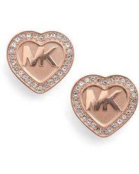Michael Kors - Heart Stud Earrings - Lyst