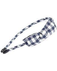 Cara Gingham Bow Headband - Blue