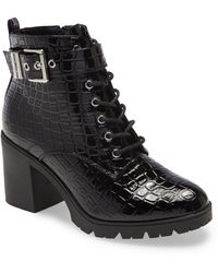 TOPSHOP Broadway Black Lace Up Boots