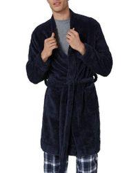 TOPMAN Faux Fur Robe - Blue