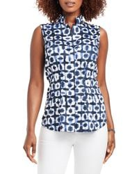 NIC+ZOE Shibori Stretch Cotton Sleeveless Top - Blue