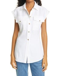 FRAME Arie Button-up Top - White