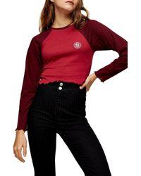 TOPSHOP Varsity Raglan Sleeve Top - Red