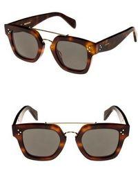 38782b803988 Lyst - Céline Cl 41079 E88 Blonde Tortoise Round Plastic Sunglasses ...