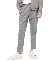 TOPMAN Glen Plaid Dress Pants - Gray