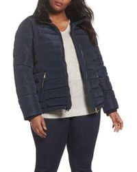 Dorothy Perkins Faux Fur Trim Hooded Puffer Jacket - Blue
