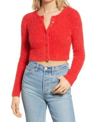 BP. Fuzzy Crop Cardigan - Red