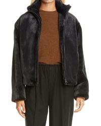 Vince Zip Front Plush Faux Fur Jacket - Black
