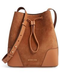 MICHAEL Michael Kors - Cary Leather & Suede Bucket Bag - Lyst