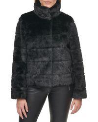 Karl Lagerfeld Grooved Faux Fur Jacket - Black