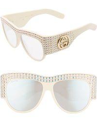 Gucci GG0144S W Oval Sunglasses - White