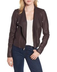 Marc New York - Feather Leather Moto Jacket - Lyst