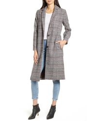 Cupcakes And Cashmere Oxford Long Check Coat - Brown